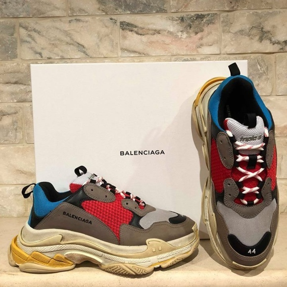 3cc6b19c9ffa Balenciaga Triple S Sneaker Grey Red Blue Speed